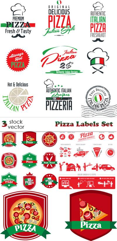Vectors - Pizza Labels Set