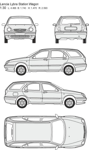 Автомобили Lancia - векторные отрисовки в масштабе