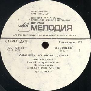 Юрий Лоза - Вся жизнь - дорога (1990)