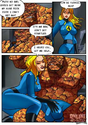 Online Superheroes - Invisible Woman gangbanged by the rest of the Fantastic Four